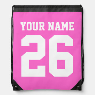 Pink drawstring bag | Personalized jersey number