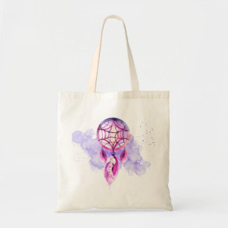 Pink Dreamcatcher On Purple Watercolor Splatter