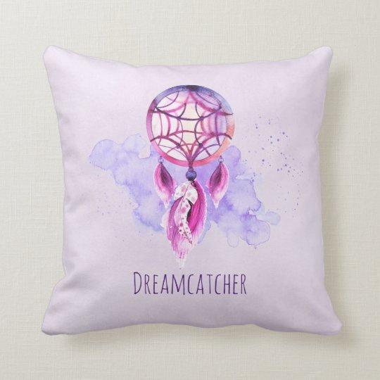 Pink Dreamcatcher On Purple Watercolor Splatter Cushion