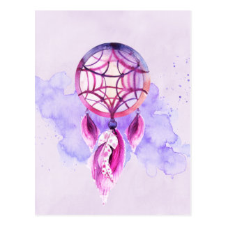 Pink Dreamcatcher On Purple Watercolor Splatter Postcard