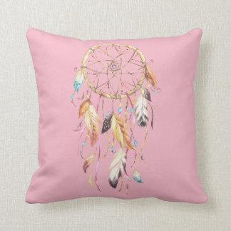 Pink Dreamcatcher Polyester Throw Pillow