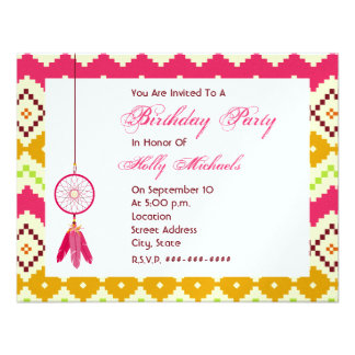 Pink Dreamcatcher Tribal Birthday Party Invitation