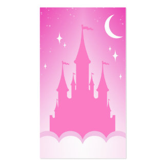 Pink Dreamy Castle In The Clouds Starry Moon Sky Pack Of Standard Business Cards