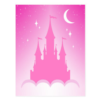 Pink Dreamy Castle In The Clouds Starry Moon Sky Postcard