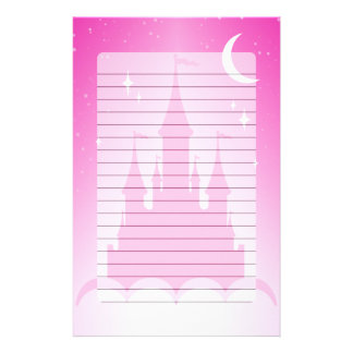 Pink Dreamy Castle In The Clouds Starry Moon Sky Stationery Paper