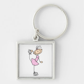 Pink Dress Figure Skater T-shirts and Gifts Silver-Colored Square Key Ring