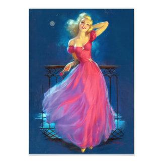 Pink Dress Pin Up 13 Cm X 18 Cm Invitation Card