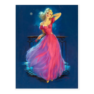 Pink Dress Pin Up Postcard