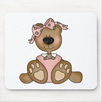 Pink Dress Teddy Bear Mouse Mats