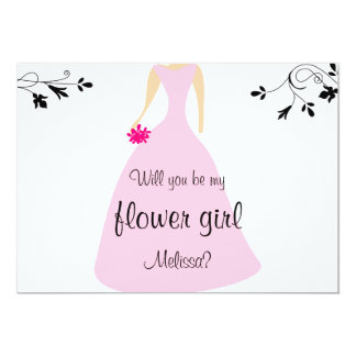 Pink Dress Will You Be My Flower Girl Invitation
