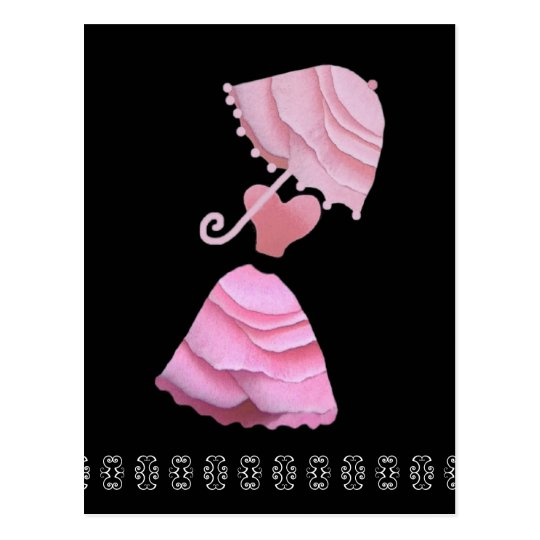 Pink Dress with Umbrella & Butterfly Lace Postcard