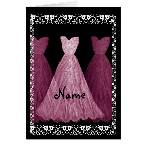 PINK Dresses - BRIDESMAID Wedding Invitation Greeting Card