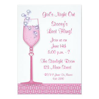 "Pink Drink Party Invitation 5"" X 7"" Invitation Card"