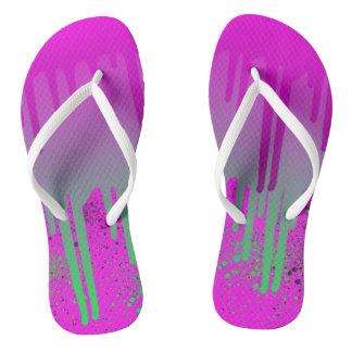 Pink Drippin' Paint Flip Flops