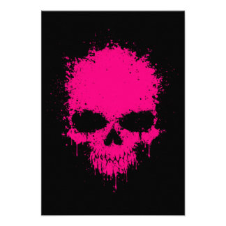 Pink Dripping Splatter Skull Personalized Announcements