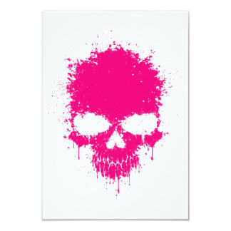 Pink Dripping Splatter Skull Personalized Invites