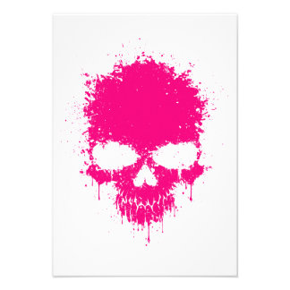 Pink Dripping Splatter Skull Personalized Invites