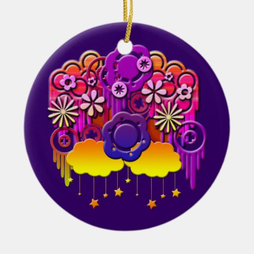 Pink Drips Christmas Ornaments