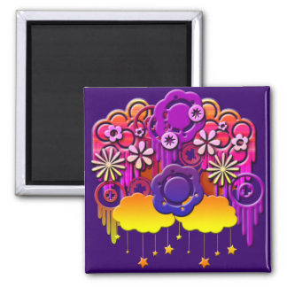 Pink Drips Square Magnet