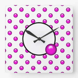 Pink Droplet/Button Dot Design Square Wall Clock
