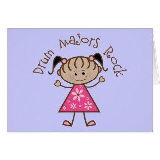 Pink Drum Majors Rock Stick Figure Greeting Card