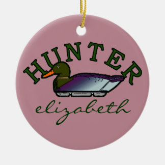 Pink Duck Hunter- Personalized Christmas Ornament