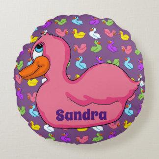 Pink Duck Round Pillow