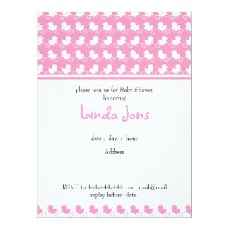"pink duck row baby shower invitation 6.5"" x 8.75"" invitation card"