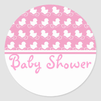 pink duck row baby shower seal sticker