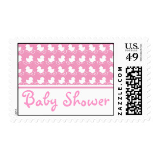 pink duck row baby shower stamp postage