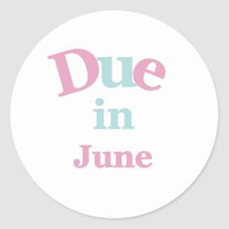 Pink Due in June Classic Round Sticker