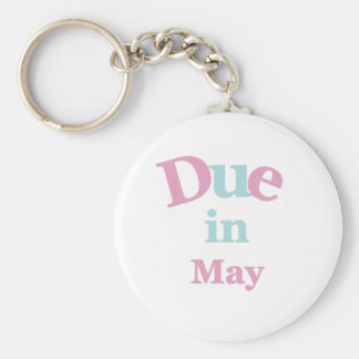 Pink Due in May Basic Round Button Key Ring