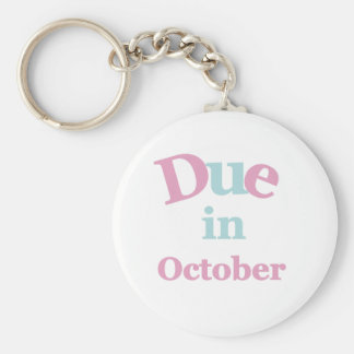 Pink Due in October Basic Round Button Key Ring