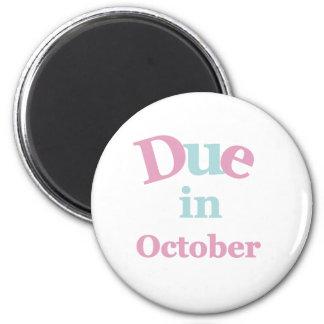 Pink Due in October 6 Cm Round Magnet