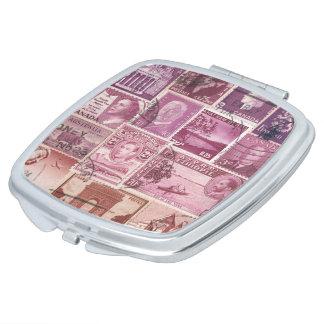 Pink Dusk Pocket Handbag Mirror, Postage Stamp Art Mirror For Makeup