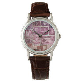 Pink Dusk Watch, Postage Stamp Collage Art Watch