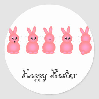 Pink Easter Bunnies Classic Round Sticker