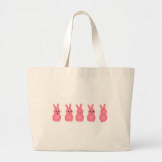 Pink Easter Bunnies Large Tote Bag