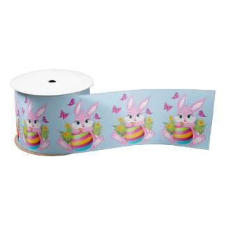Pink Easter Bunny 3 inch Satin Ribbon