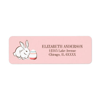 Pink Easter Bunny And Egg  Address Labels