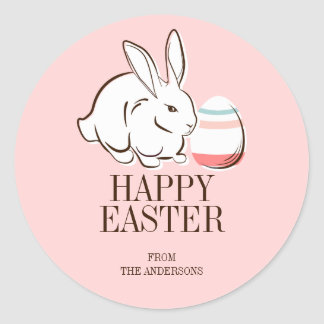 Pink Easter Bunny and Egg Happy Easter Sticker