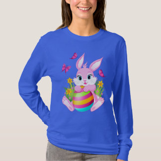 Pink Easter Bunny Blue Long Sleeve T-Shirt