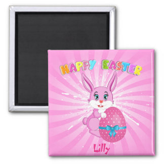 Pink Easter Bunny Cartoon Magnet