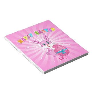 Pink Easter Bunny Cartoon Notepad