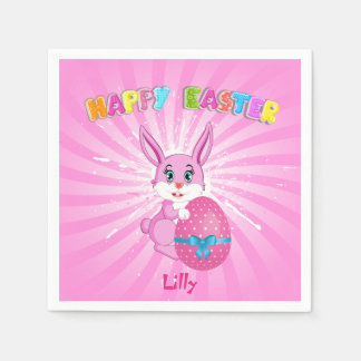 Pink Easter Bunny Cartoon Paper Napkin