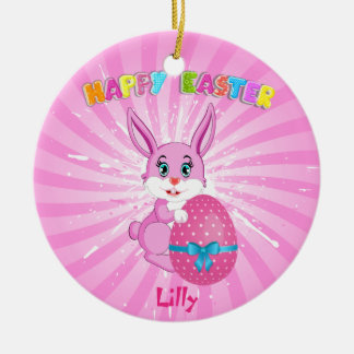 Pink Easter Bunny Cartoon Round Ceramic Decoration