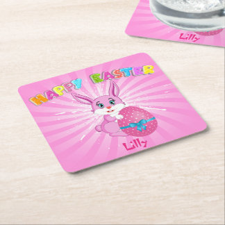 Pink Easter Bunny Cartoon Square Paper Coaster