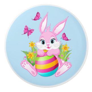 Pink Easter Bunny Ceramic Knob