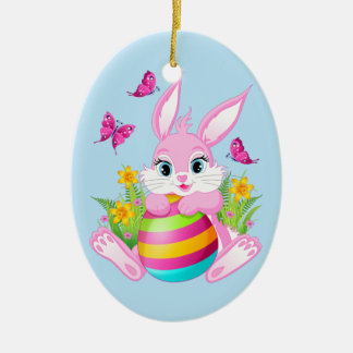 Pink Easter Bunny Ceramic Oval Ornament