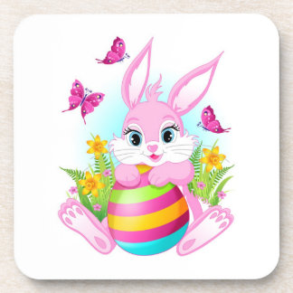 Pink Easter Bunny Coasters (set of 6)